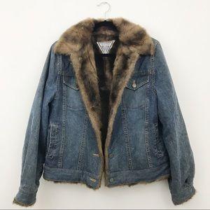 VINTAGE Marvin Richards faux fur lined jean jacket